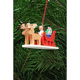 Tree ornament Angel in reindeer sleigh  -  9,7cm / 3.8inch