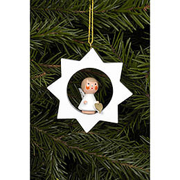 Tree ornament Angel in white Star  -  6,0 x 6,0cm / 2 x 2 inch