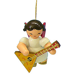 Tree ornament Angel with balalaika  -  Red Wings  -  floating  -  5,5cm / 2,1 inch