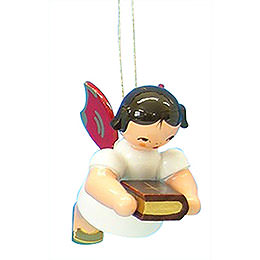 Tree ornament Angel with bible  -  Red Wings  -  floating  -  6cm / 2,3 inch