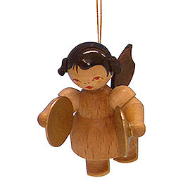 Tree ornament Angel with cymbal  -  natural colors  -  floating  -  5,5cm / 2,1 inch