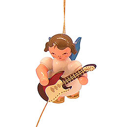 Tree ornament Angel with electric guitar  -  Blue Wings  -  floating  -  5,5cm / 2,1 inch