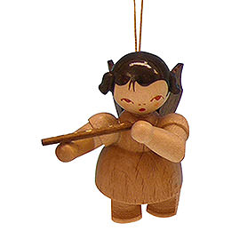 Tree ornament Angel with flute  -  natural colors  -  floating  -  5,5cm / 2,1 inch