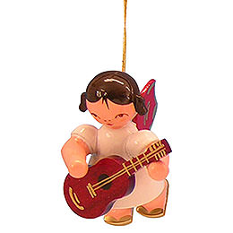 Tree ornament Angel with guitar  -  Red Wings  -  floating  -  5,5cm / 2,1 inch