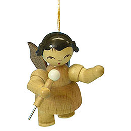 Tree ornament Angel with microphone  -  natural colors  -  floating  -  5,5cm / 2,1 inch