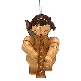Tree ornament Angel with oboe  -  natural colors  -  floating  -  5,5cm / 2,1 inch