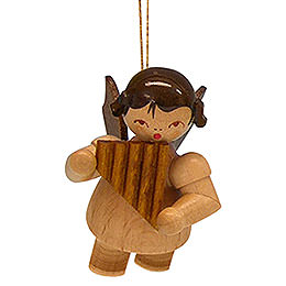 Tree ornament Angel with pan pipe  -  natural colors  -  floating  -  5,5cm / 2,1 inch