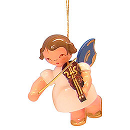 Tree ornament Angel with violin  -  Blue Wings  -  floating  -  5,5cm / 2,1 inch