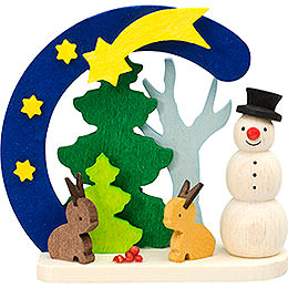 Tree ornament Arch and snowman with bunnies  -  7cm / 2.8inch