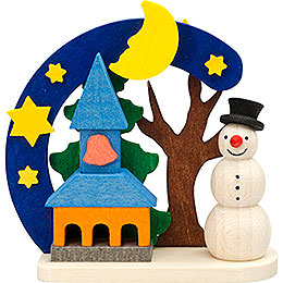 Tree ornament Arch and snowman with church  -  7cm / 2.8inch