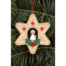 Tree ornament Ginger Bread small with Angel  -  6,9 x 6,9cm / 2.7 x 2.7inch