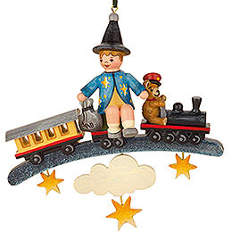 Tree ornament Sandman teddy train 9cm / 3,5inch