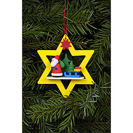 Tree ornament Santa Claus in yellow Star  -  6,8 x 7,8cm / 3 x 3 inch