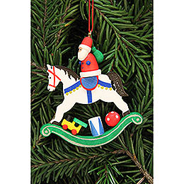 Tree ornament Santa Claus on rocking horse  -  6,8x7,1cm / 2.7x2.8inch