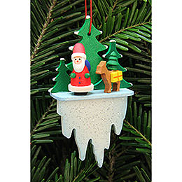 Tree ornament Santa Claus with bambi on icicle  -  5,5x8,8cm / 2.2x3.4inch