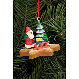 Tree ornament  -  Santa on Ginger Bread star  -  5,2 x 4,1cm / 2x2 inch