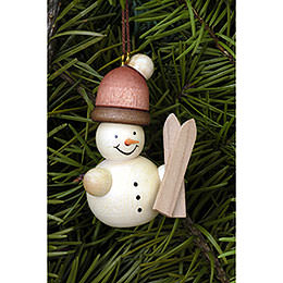 Tree ornament Snowman with cap natural  -  4,1 x 5,2cm / 1.6 x 2.0inch