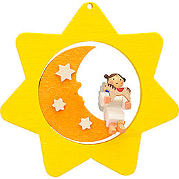 Tree ornament Star - Moon - Angel with horse  -  8cm / 3.1inch