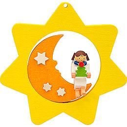 Tree ornament Star - Moon - Angel with tree  -  8cm / 3.1inch