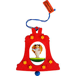Tree ornament bell red with angel  -  7,5cm / 3inch