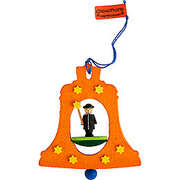 Tree ornament bell with carolers  -  7,5cm / 3inch