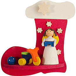 Tree ornament boot - angel with trycycle  -  7cm / 2.8inch