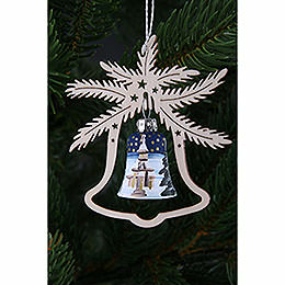 Tree ornament  -  hand painted glass bell church of Seiffen, set of three  -  9x8cm / 3.5x3.inch