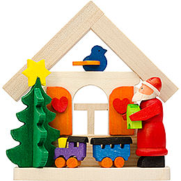 Tree ornament house Santa Claus with rail road  -  7,5cm / 3inch