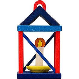 Tree ornament lantern, red and blue  -  5cm / 2inch