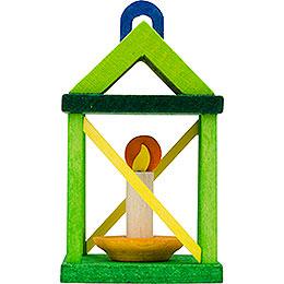 Tree ornament lantern, yellow and green  -  5cm / 2inch