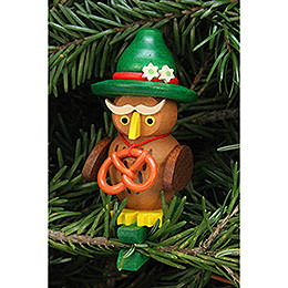 Tree ornament owl Bavarian on clip  -  4,8x7,3cm /1.9x2.9inch