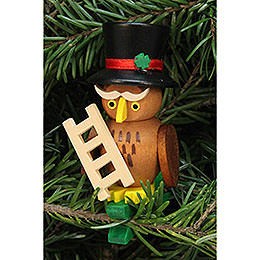 Tree ornament owl chimney sweep on clip  -  5,0x7,3cm / 2.1x2.9inch
