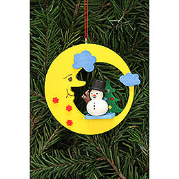 Tree ornament snowman in moon  -  8,3x7,9cm / 3.3x3.1inch