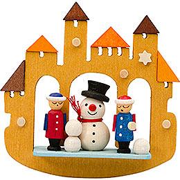Tree ornament town gate snowmann  -  7cm / 2.8inch
