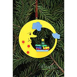Tree ornament train in moon  -  8,3x7,9cm / 3.3x3.1inch