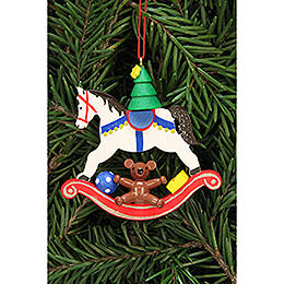 Tree ornament tree on rocking horse  -  6,8x6,5cm / 2.7x2.5inch