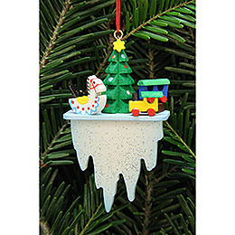 Tree ornament tree with toys on icicle  -  4,5x7,8cm / 1.7x3inch