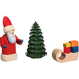 Weihnachtsmann mit Schlitten  -  8cm