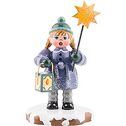Winter Children Girl with a star and lantern  -  8cm / 3inch