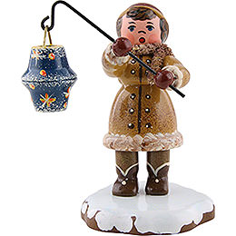 Winter Children Girl with lantern  -  8cm / 3inch