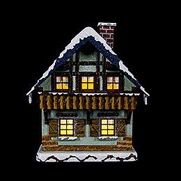 Winterhaus mit Balkon beleuchtet  -  15cm