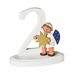 """Zahl """"2"""" mit Engel  -  7cm"""