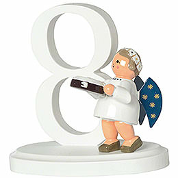 """Zahl """"8"""" mit Engel  -  7cm"""